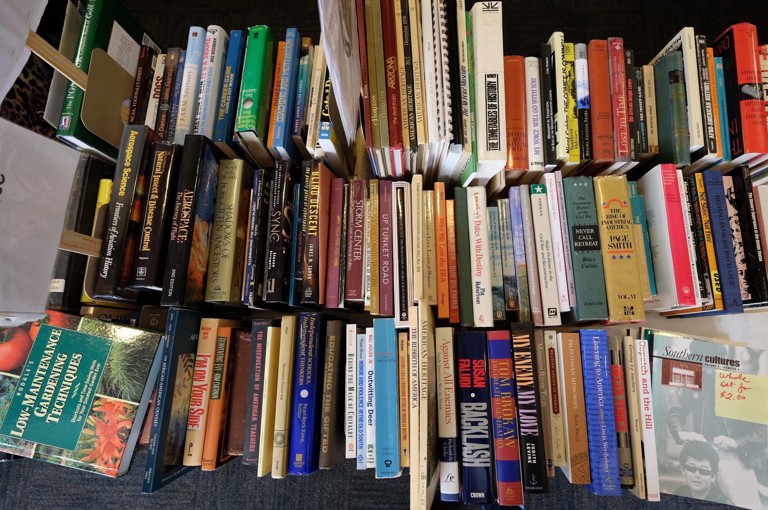 Overhead shot of books