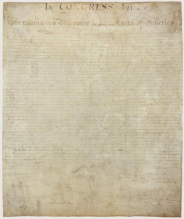 Image of the Declaration of Independence (source: US National Archives)